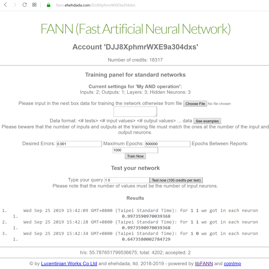 New credits system integrated in Fast Artificial Neural Network