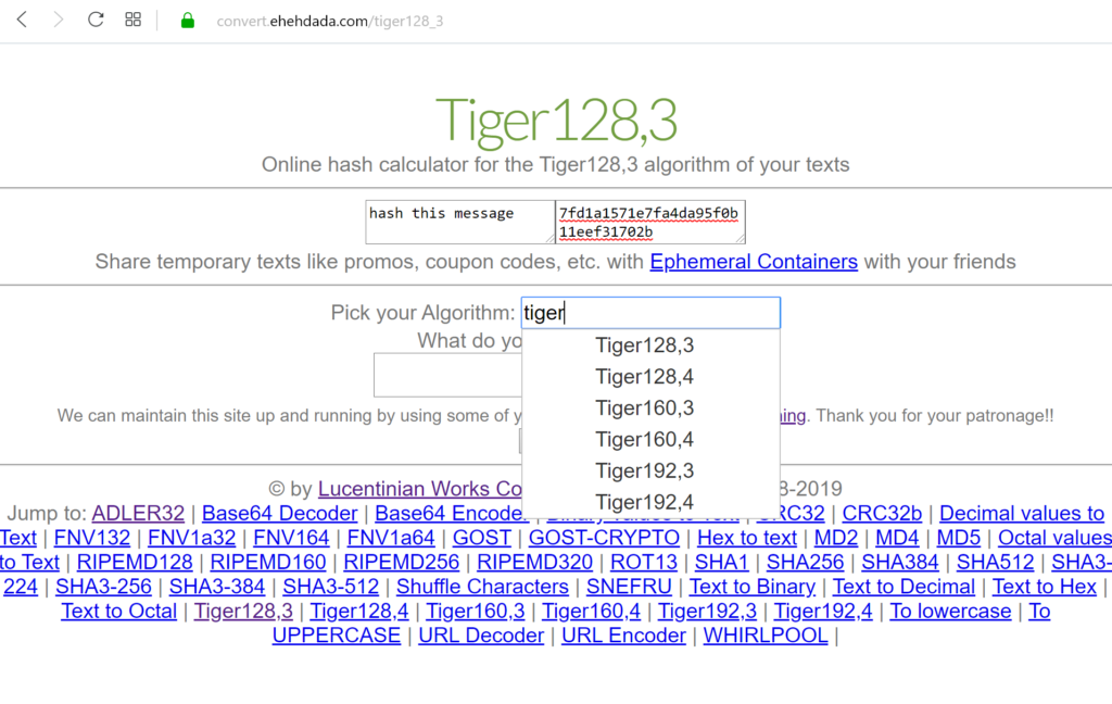 Tiger hash algorithm at our online Convert Data website