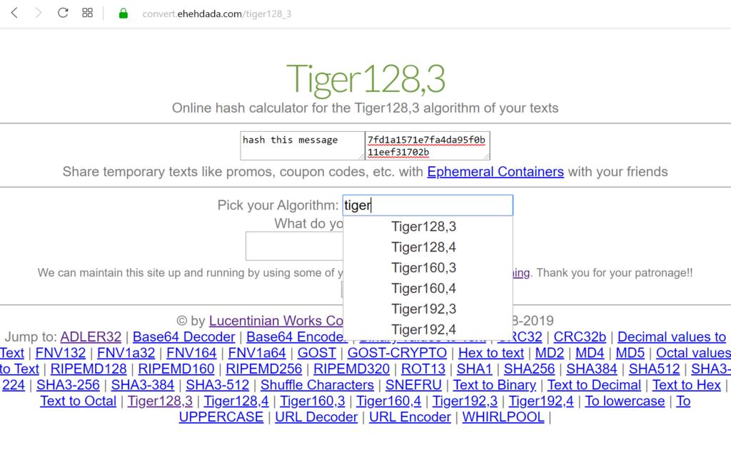 Algoritmo hash de Tigre en nuestro sitio web en línea Convertir Datos