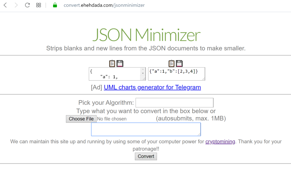JSON minimizer and upload file button