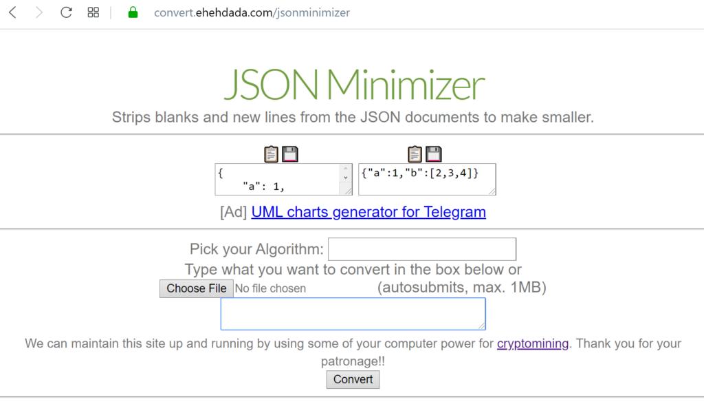 JSON minimizer and upload file button