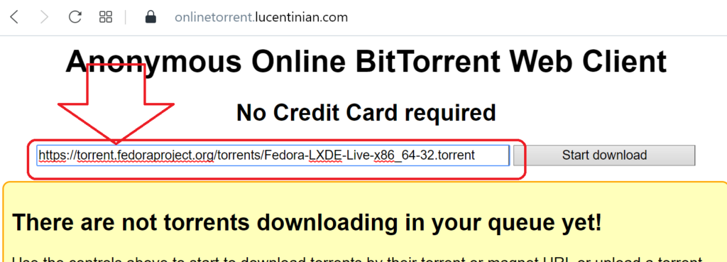 Paste the URL to the torrent file of the content to download